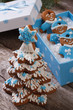 gingerbread Christmas tree and gingerbread men in the box