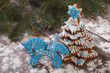 blue horse cookies and gingerbread Christmas tree