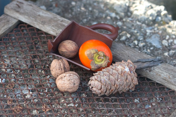ebony, walnut, fir cone