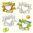 Vector nature frames with flowers, apples and autumn leaves.