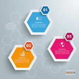 Three Colored Hexagons Background