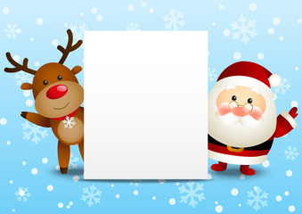 Funny Santa and deer with Christmas card