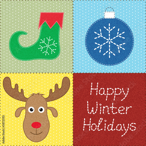 Patchwork with Christmas motifs. Can be used as seamless pattern