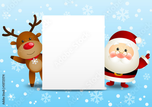 Funny Santa and deer with Christmas card