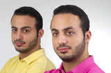 Identical Twins portrait shot against white background