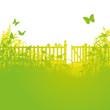 Gartenzaun und offenes Gartentor