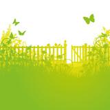 Fototapety Gartenzaun und offenes Gartentor