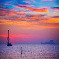 Ibiza sunset sun view from formentera Island