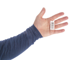 hands with bar code on a white background