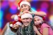 Christmas portrait of happy children against bright background