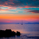Ibiza sunset view from formentera Island