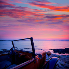 Ibiza sunset view from vintage car at Formentera