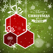 green striped retro christmas card with red hexagonal balls