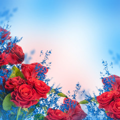 A bouquet of red roses, floral background