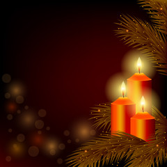 Background with burning candles and Christmas tree