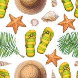 Summer holiday pattern. Straw hat, flip flops, shells