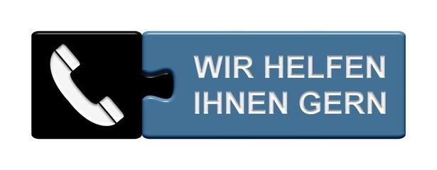 Puzzle-Button schwarz blau: Wir helfen Ihnen gern
