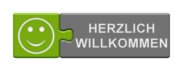 Puzzle-Button grün grau: Herzlich Willkommen