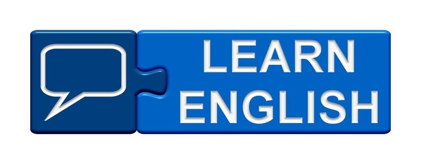 Puzzle-Button blau: Learn english