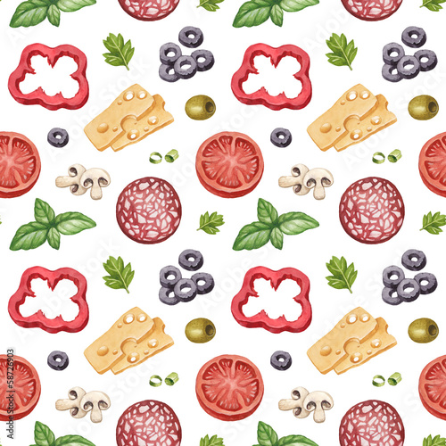 Pattern with watercolor illustration of food ingredients
