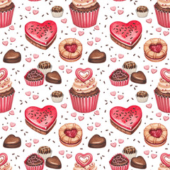 Cookies, cakes and chocolate sweets for valentines day