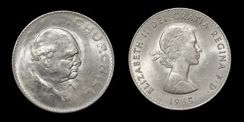 Coin of Great Britain with image of Churchill