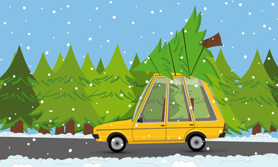 funny cartoon car with christmas tree