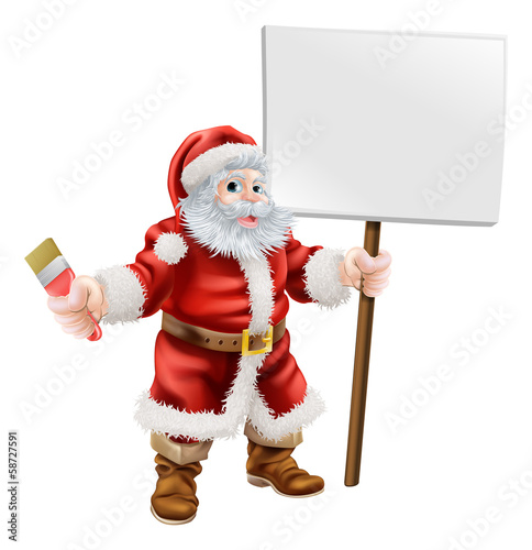 Santa holding paintbrush and sign