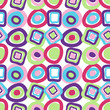 Cute seamless pattern with multicolored bright circles