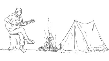 vector - Scout plays guitar on a tree stump in the camp