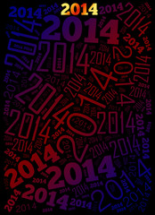 2014 Year word cloud holiday background