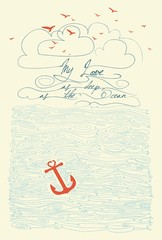 "Hand Drawn ""My Love As Deep As The Ocean"" Typographical Poster"