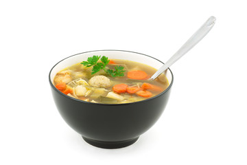 beef soup with vegetables and vermicelli