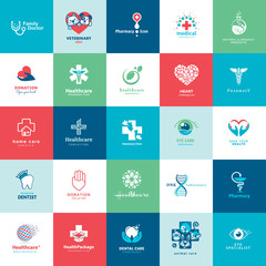Set of icons for medicine, healthcare, veterinarian