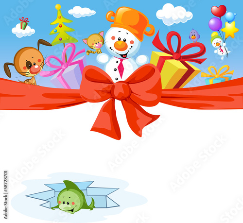 funny christmas design with snowman and animals