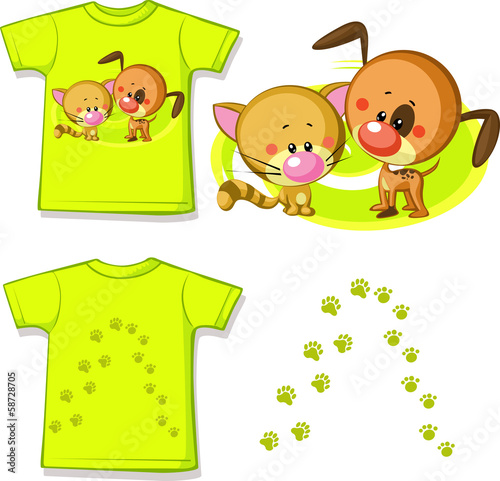 kid shirt with cute cat and dog printed - isolated on white