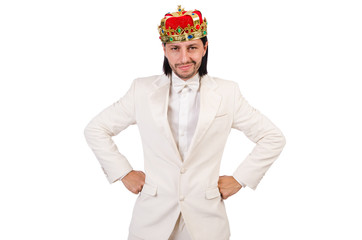 Funny king in white suit