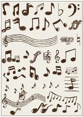 Noten Icons Symbole Zeichnung Musik Grafik