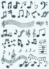 Noten Icons Symbole Zeichnung Musik Grafik kariertes Papier