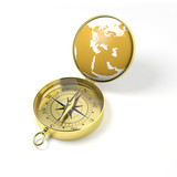 3D gold compass on white background