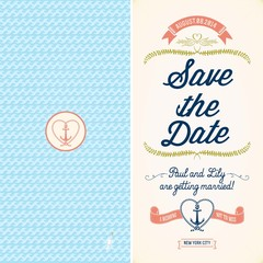 Save The Date, Wedding Nautical Invitation Card