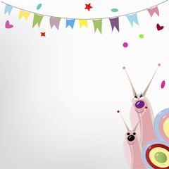 kids vector background with snails