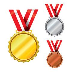 Three medals - gold, silver, bronze