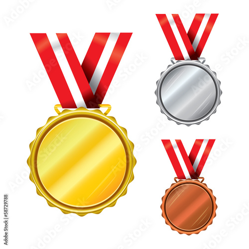Three medals - gold, silver, bronze