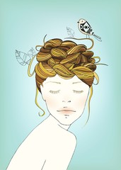 Girl's Nest Hair Illustration