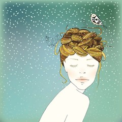 Winter Girl's Nest Hair Illustration