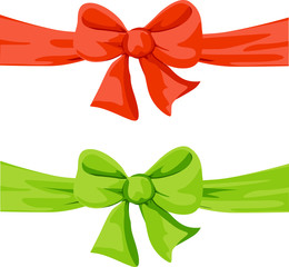 red and green bow illustration isolated on white background