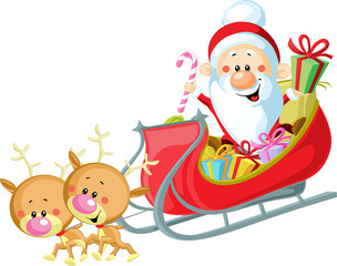 Santa Sleigh and Reindeer isolated on white background
