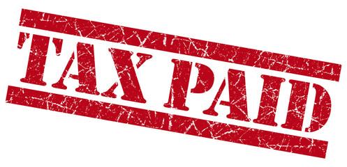 Tax paid red grunge stamp