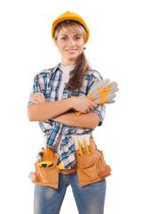 beautiful female worker (agitation photo)